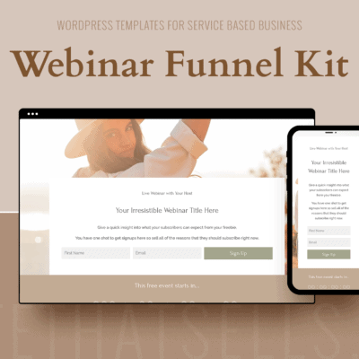 Divi Wordpress Funnel Templates - Evergreen Webinar Page Kit in Organic Colours