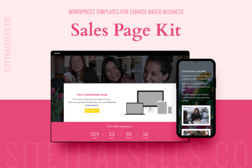 Divi Wordpress Funnel Templates - Sales Page Template Kit in Bright Feminine Colours